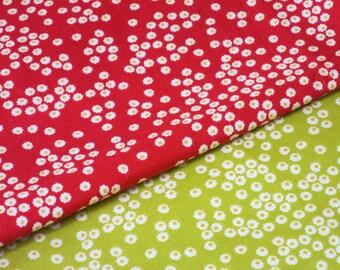 Polka Dot Daisies Organic Fabric Bundle - Red & Citron. Daisy fabric, Red flower organic fabric. Green flower organic fabric