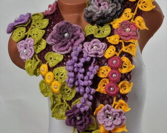 Crochet flowers scarf «DEMI» woman crochet scarf  warm scarf Scarf crocheted Original decoration on the neck Lace decoration Bohо Chic