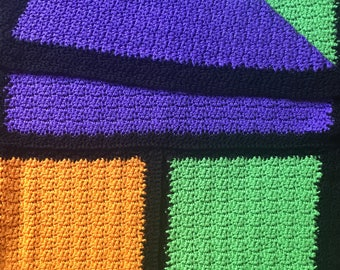 MOD Color Block Afghan // Handmade Afghan // Neon Afghan // 1970's