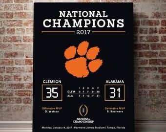 Clemson National Champions - Premium Canvas - 2017 National Championship Canvas Print - Clemson Tigers - Clemson Football - Clemson Poster