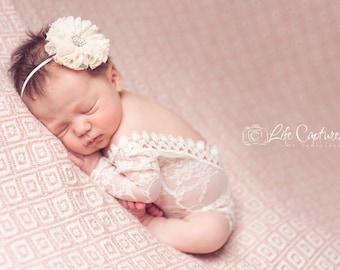 One-piece Photography prop, cream stretch lace with trim, newborn