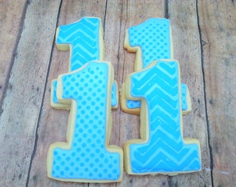 First Birthday Cookies - Number One Cookies - First Birthday Party - Cookie Favors - First Birthday - Boy Party - Decorated Cookies