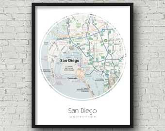 San Diego Map Art San Diego Wedding Gift Ideas Moving Away Gift for Best Friend - Photographed Road Atlas Artwork with a Unique Design