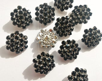 Hexagonal buttons with black rhinestones-20 mm
