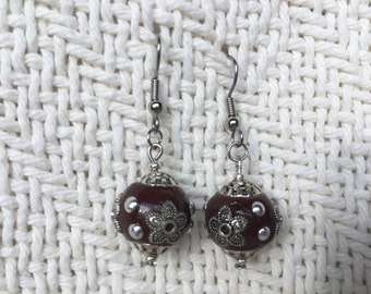 Brown and silver beaded earrings