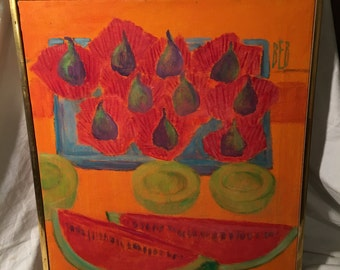 """Original Signed Ernestine Betsberg, """"Figs and Melons"""", Oil on canvas, framed and signed, Still Life"""