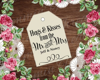 Hugs & Kiss tag /Personalized party favor tag / Printable  / DIY Party favors