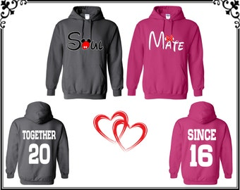 Soul Mate Together Since Couple Hoodie Sweatshirt Soul Mate Couple Hooded Sweatshirt Soul Mate Together Since Sweatshirt Gift For Couple