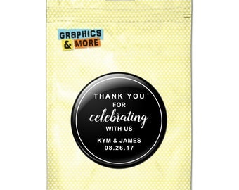 Black Line Thank You Celebrating Us 2.25 Inch Diameter Personalized Custom Kitchen Refrigerator Locker Button Magnet