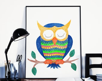 "Owl painting/ owl nursery decor/ owl wall art/ owl nursery art/ nursery wall art/ nursery painting/ nursery wall decor  ""Sleeping wisdom"""