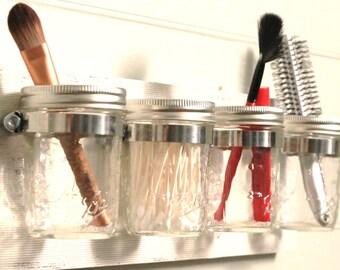 Mason Jar Decor, Mason Jar Organizer, Shabby Chic, Mason Jar Bathroom, Bathroom Decor, Rustic Decor, Mason Jar, Rustic Decor