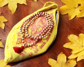 Krishna japa mala with bag/ SHRI Krishna tulsi brasil prayer beads with japa bag