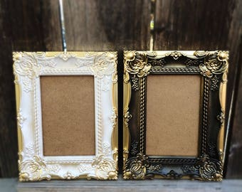 4x6 Picture Frame, Shabby Chic, French Country, Baroque, Ornate, Vintage Style, Black, White, Gold Wedding Frames, Table Numbers, Wall Decor
