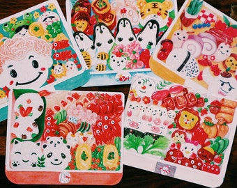 Set of 10 Lunchbox Postcards. Happy Meal Thank You Notes Handmade Pretty Gift Ephemera