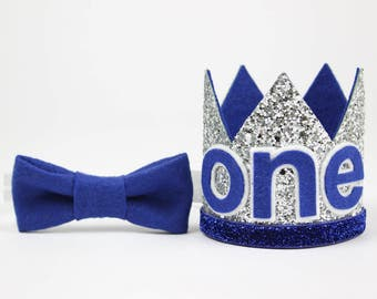 First Birthday Outfit Boy Crown | Baby Boy Birthday Party Hat | First Birthday Glitter Crown | 1st Birthday Hat | Silver + Royal Blue ONE