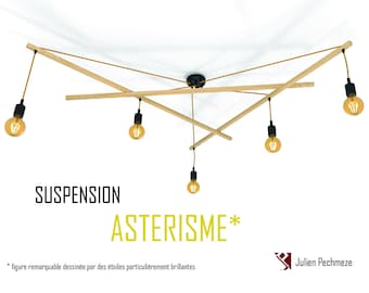Pendant light Asterism*, mustard and black scandinavian chandelier