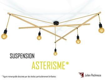 Suspension luminaire design scandinave, ASTERISME* 5 ampoules