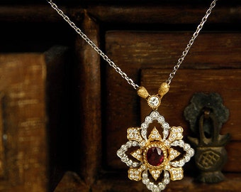 Ruby gold necklace with diamonds