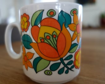 West Germany Bavaria 1970s mug with colourful floral design