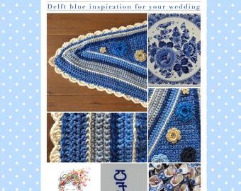 Delft blue wrap/scarf-shawl/stole Delft blue