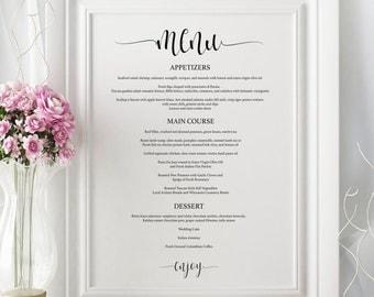 Wedding Menu Board - Printable Wedding Menu - Wedding Menu Posters - Wedding Sign Template - Wedding Menu PDF Instant Download #WDH0013