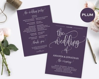 plum wedding program printable wedding program template program ceremony the wedding of programs