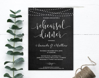 Rehearsal dinner invitation template - Rehearsal dinner invitation instant download - String Lights -  Downloadable wedding #WDH0149