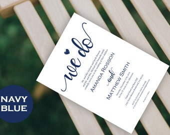 We Do Wedding Invitation Template  - Navy Blue Wedding - Wedding Invitation Template - Heart Wedding Invite - Downloadable Wedding #WDH0198