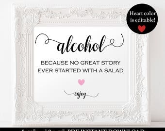 Alcohol Sign Printable - Wedding Drink Sign - Bar Wedding Sign- Signature Drink - Editable Text - Downloadable wedding #WDH812242