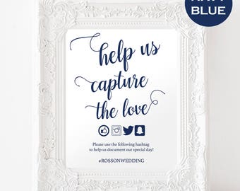 Wedding Hashtag Sign - Capture the Love Hashtag Sign - Social Media Signs - Navy Blue Wedding Sign - Downloadable wedding #WDH812263