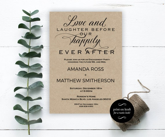 Engagement Invitations - Love and Laughter before our happily ever after - Wedding Printable - Downloadable Wedding #WDH0204