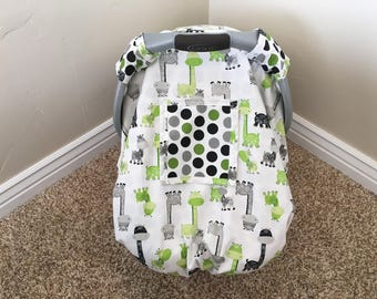 Car Seat Cover, Canopy, Boy, Snug Fit, Window, Lime Green, Black, Grey, Polka Dot, Girraffe, Cute, Neutral