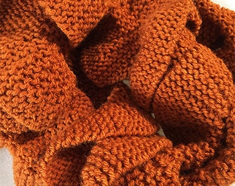 Knit Orange Wavy Scarf