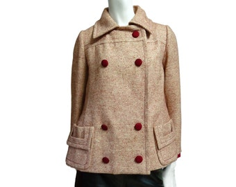Vintage coat 60s wool SORELLE FONTANA red & white trapeze Silk details sz S and M
