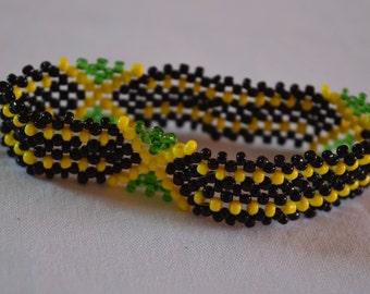 Jamaica Flag Bracelet | Maasai beaded bracelets | Flag of Jamaica | Jamaican flag wrist band.