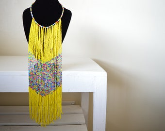 African Maasai Beaded Necklace | Multi color Necklace | Yellow Necklace | One size fits all | Gift for Her