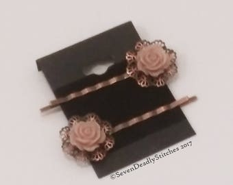 Rustic Romantic Rose Bronze Hair Slides