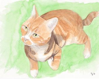 Full Body Pet Portrait in Watercolor - Custom Painting of Dog / Cat