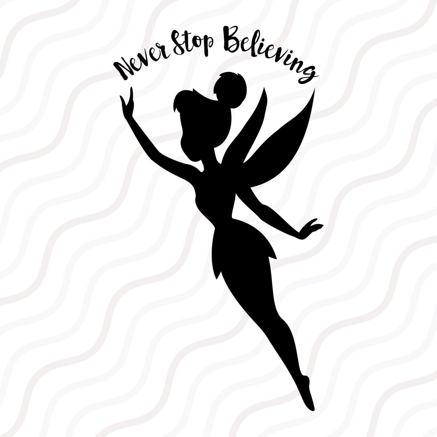 Tinkerbell svg tinkerbell dxf tinkerbell silhouette svg cut for Black and white tinkerbell
