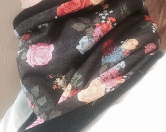 Bouquets on Black and Black Fleece Functional Handmade Collar Coze Cowl Neckwarmer