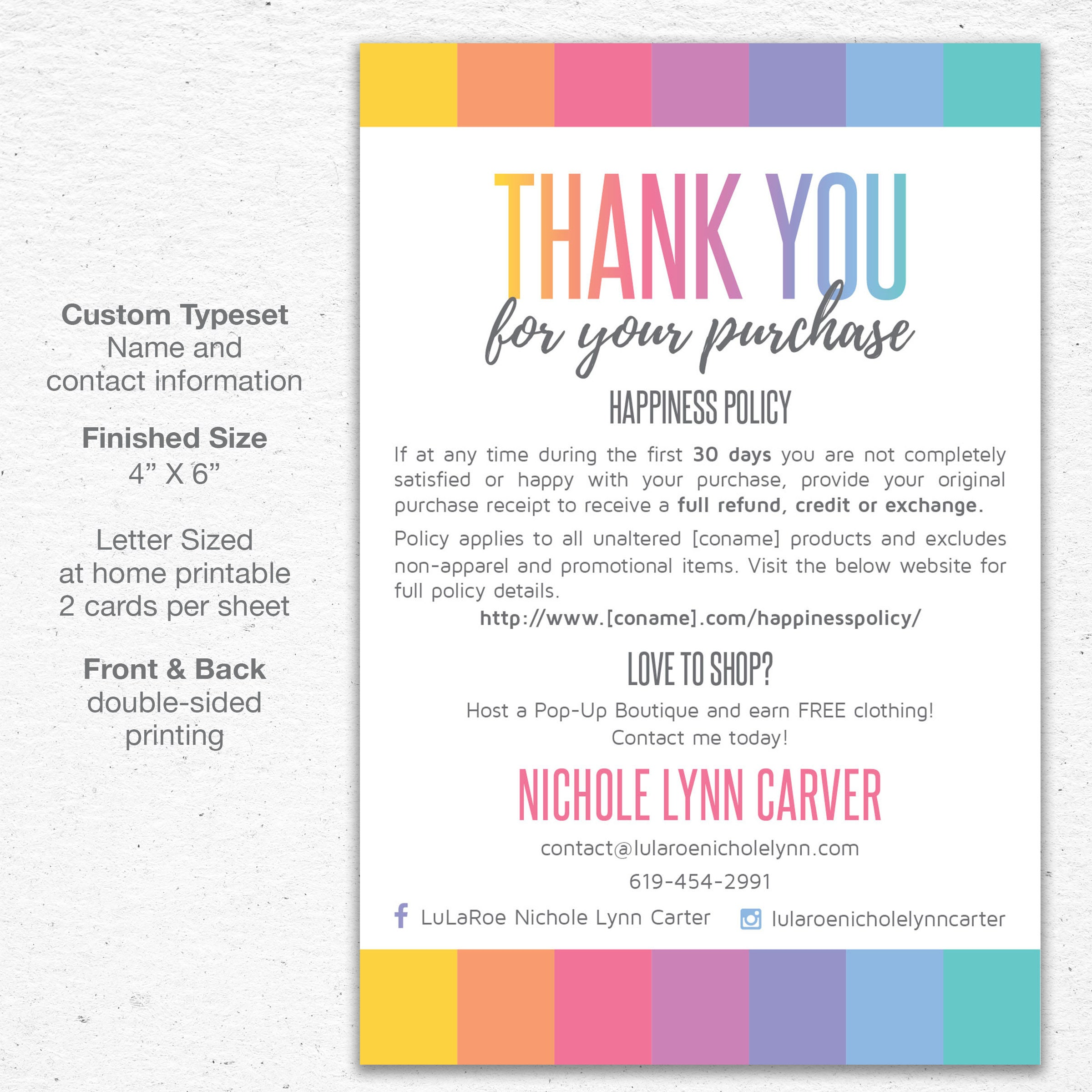 Thank You Care Card Postcard 4x6 Print at Home