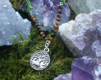 Tree Necklace with Tiger Eye Beading