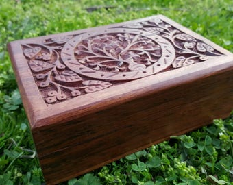 Hand Carved Tree of Life Crystal Box