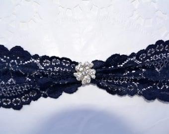 Navy Blue Garter, Lace Garter, Wedding Garter Set, Dark Blue Garter, Blue Garter Lace, Garter Set, Blue Wedding Garter, Wedding Accessorie