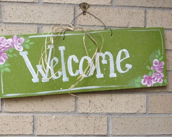 Welcome Sign, Shabby Chic, Roses handcrafted