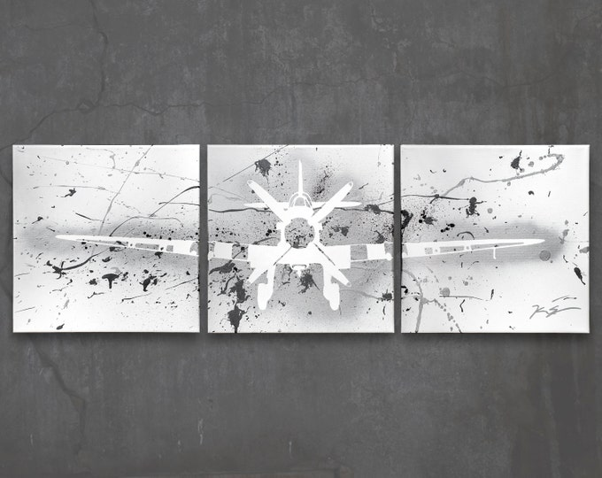 supermarine spitfire // custom original painting // modern triptych // airplane art // metallic spray paint large wall art // plane painting