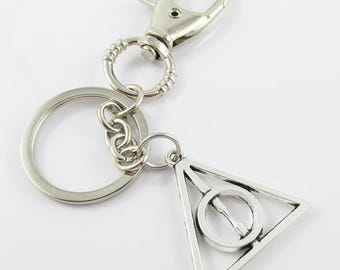 Harry Potter Inspired Deathly Hallows Charm Keychain Swivel 117mm (C1530/KCF034)