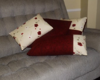Cream and Red Flower Pillow