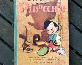 Walt Disney Pinocchio Book. 1940s Retro Children's book.