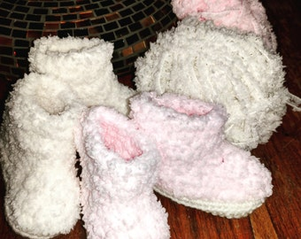 Crochet Fluffy Yarn Baby Booties - Unique- Super-soft